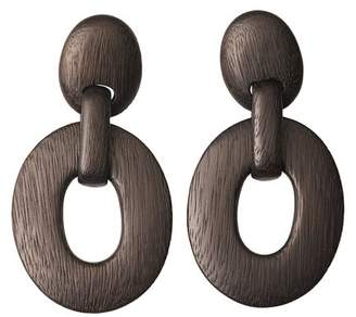Josie Natori Acacia Wood Oval Link Earrings