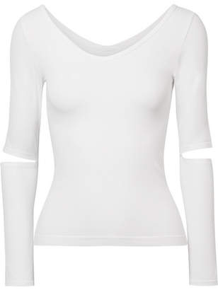 Helmut Lang Cutout Stretch-jersey Top - White