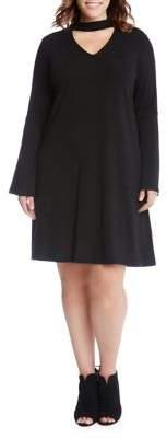 Karen Kane Plus Choker Neck Taylor A-Line Dress