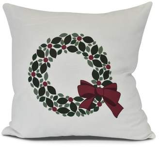 The Holiday Aisle Holly Wreath Floral Print Outdoor Throw Pillow