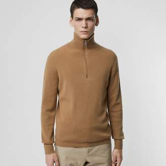 Burberry Rib Knit Cashmere Half-zip Sweater