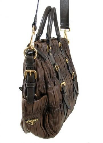 Prada excellent (EX Chocolate Brown Leather Shoulder Bag