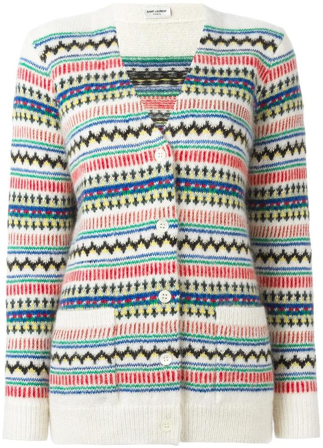 Saint LaurentSaint Laurent oversize fair isle knit cardigan