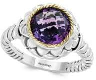 Effy 925 Sterling Silver, 18K Yellow Gold & Amethyst Ring