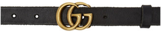Gucci Black Leather Slim GG Belt $330 thestylecure.com
