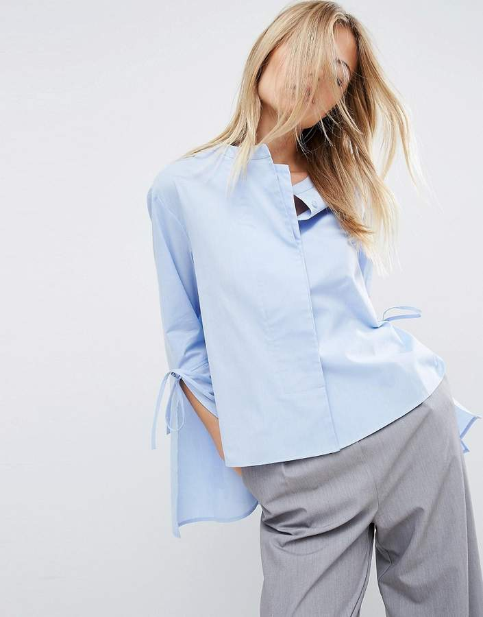 Asos ASOS Double Layer Trapeze Shirt With Tie Sleeve