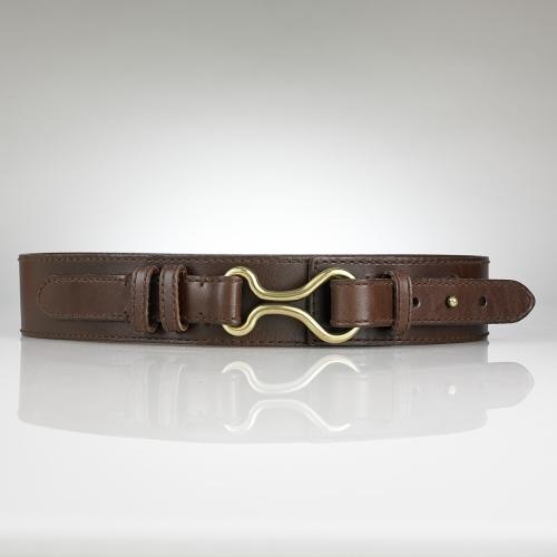 Saddle Leather Brass Bit Belt