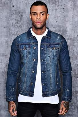 boohoo Washed Blue 4 Pocket Denim Jacket