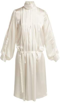 Ann Demeulemeester High Neck Pleated Front Silk Dress - Womens - Ivory