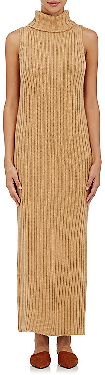 Ryan Roche Women's Cashmere Turtleneck Long Sweaterdress-TAN