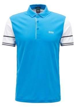 BOSS Hugo Slim-fit polo shirt color-block sleeves XXXL Blue