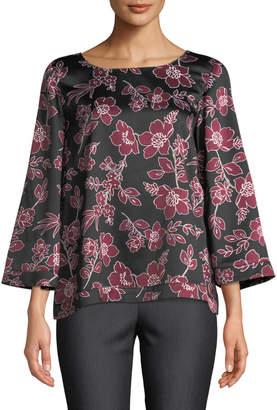 Tahari ASL 3/4-Sleeves Floral-Print Blouse