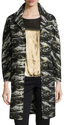 Neiman Marcus Jacquard Metallic Long Topper Coat $395 thestylecure.com