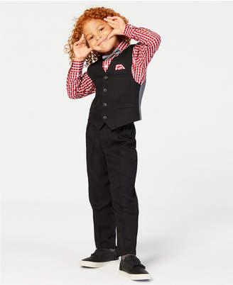 Nautica Toddler Boys 4-Pc. Textured Vest, Grid-Print Shirt, Pants & Bowtie Set