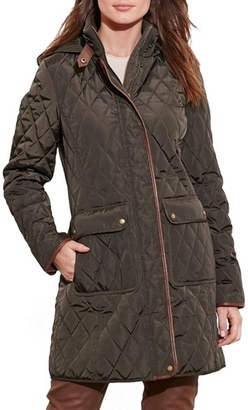 Women's Lauren Ralph Lauren Diamond Quilted Coat With Faux Leather Trim $230 thestylecure.com