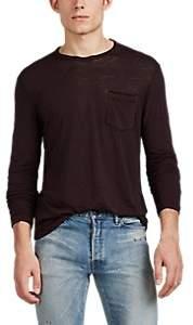 John Varvatos Men's Washed Cotton-Blend Long-Sleeve T-Shirt - Wine