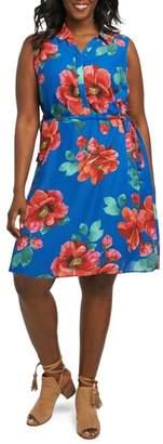 Foxcroft Adessia Hibiscus Floral Tassel Tie Dress