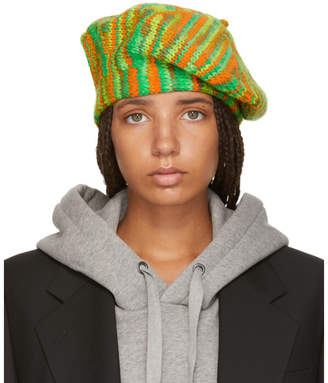 Acne Studios Green and Orange Knit Beret