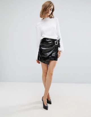 MANGO Patent Wrap Front Mini Skirt
