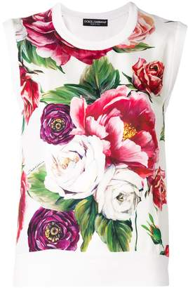 Dolce & Gabbana peony print tank top