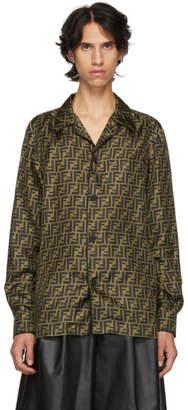 Fendi Brown and Tan Silk Forever Shirt