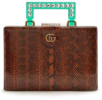 Gucci Broadway Embellished Perspex Handle Snakeskin Bag - Womens - Brown