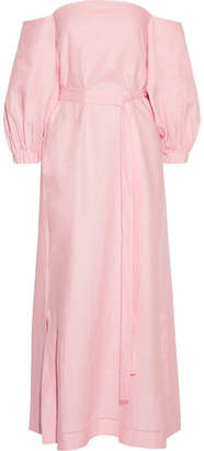 Lisa Marie Fernandez - Rosie Off-the-shoulder Linen Maxi Dress - Baby pink $695 thestylecure.com