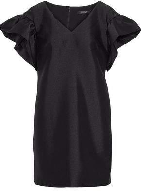 Badgley Mischka Ruffle-Trimmed Satin-Twill Mini Dress