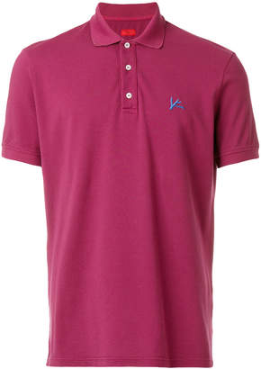 Isaia embroidered logo polo shirt