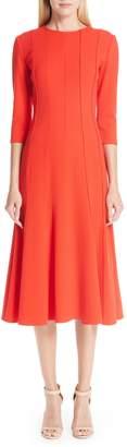 Oscar de la Renta Seam Detail Stretch Wool A-Line Midi Dress