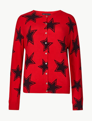 Marks and Spencer Star Print Round Neck Cardigan