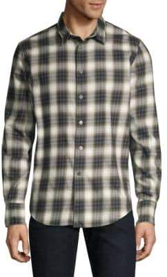 John Varvatos Faded Plaid Shirt