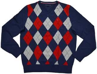 Tommy Hilfiger Sweater Mens V-Neck Argyle Sweater (L, )