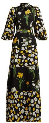 Andrew Gn Daffodil Print Silk Gown - Womens - Black