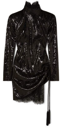 Dundas - Sequined Tulle And Lace Mini Dress - Black