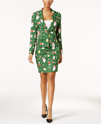 OppoSuits One-Button Printed Skirt Suit