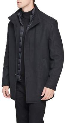 Andrew Marc Shadow Plaid Car Coat with Zip Out Bib