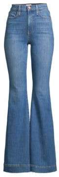 Beautiful High-Rise Unfinished, Split & Frayed Hem Flared Jeans