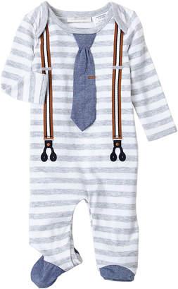 Miniclasix (Newborn Boys) Striped Tie & Suspenders Footie