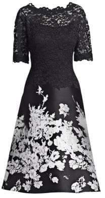 Teri Jon by Rickie Freeman Floral Midi Dress