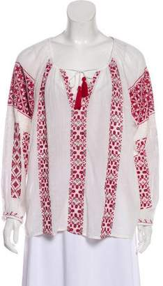 Nili Lotan Peasant Embroidery Shirt
