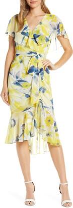 Eliza J Chiffon Faux Wrap Dress