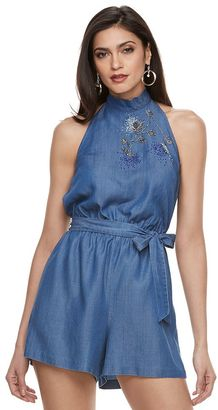 Women's Jennifer Lopez Embroidered Chambray Romper $84 thestylecure.com