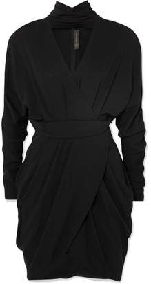 Versace Wrap-effect Crepe Mini Dress - Black