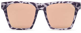 Quay Chrisspy Reflective 148MM Flat Square Tortoise Sunglasses
