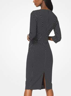 Michael Kors Polka Dot Stretch-Cady Sheath Dress