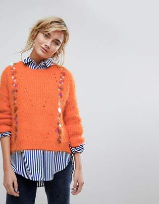 Paige Willow and Willow And Fluffy Sweater With Sequin Embellishment