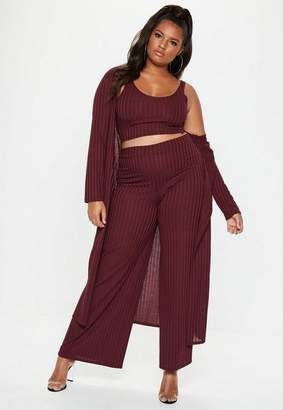 Missguided Plus Size Burgundy Ribbed Trousers