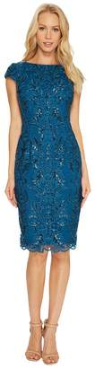 Adrianna Papell Off the Shoulder Sequin Scroll Cocktail Dress Women's Dress