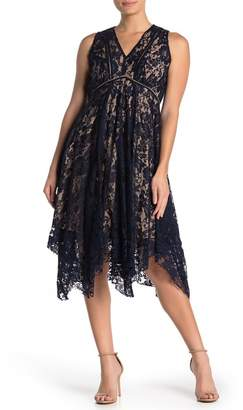 Gabby Skye Floral Lace Asymmetrical Midi Dress